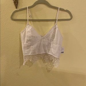 NWT Free People White Crop Top Size M